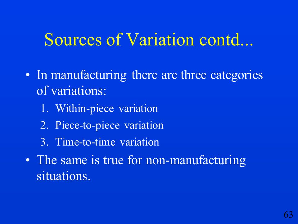 63 Sources of Variation contd... In manufacturing there are three categories of variations: 1.Within-piece variation 2.Piece-to-piece variation 3.Time