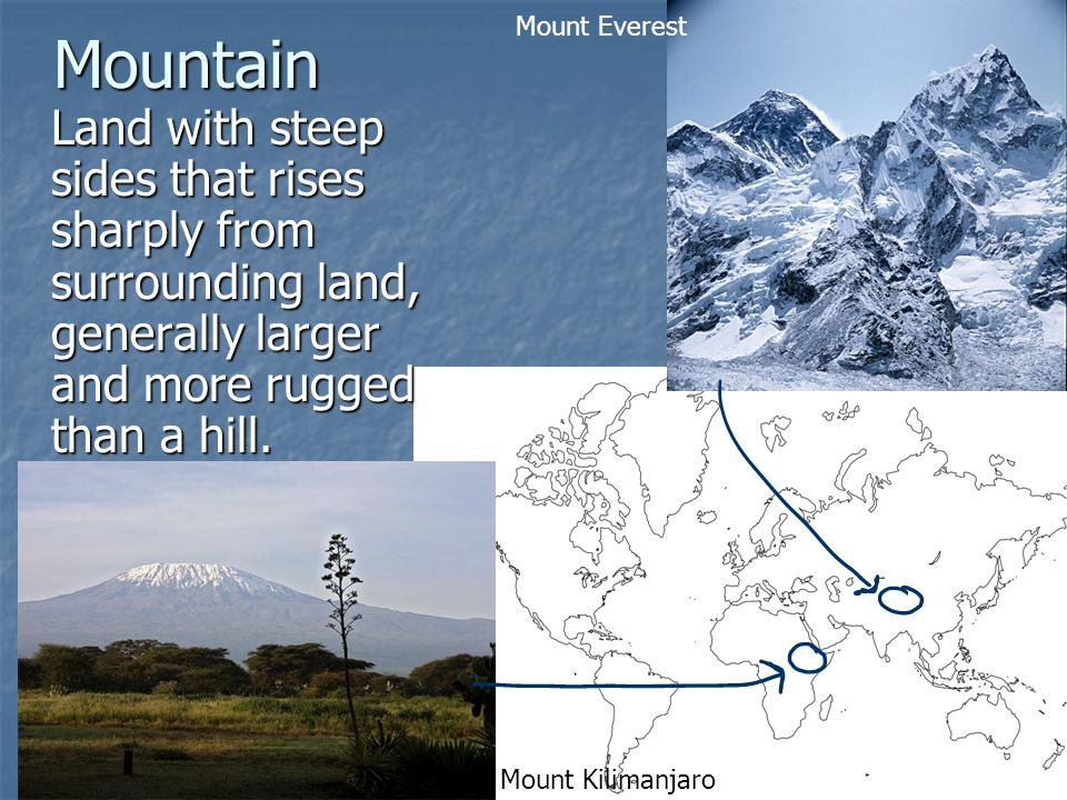 Mountain Land with steep sides that rises sharply from surrounding land, generally larger and more rugged than a hill.