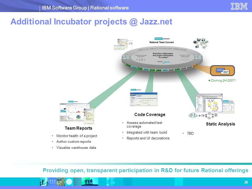 IBM Software Group | Rational software 26 Additional Incubator projects @ Jazz.net Providing open, transparent participation in R&D for future Rationa