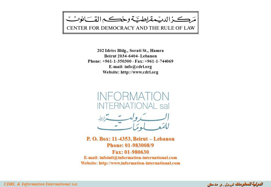 الدولية للمعلومات ش. م. ل. و مد - حق CDRL & Information International SAL P.