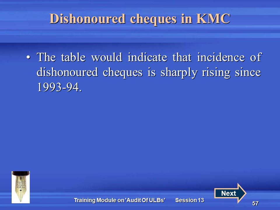 Training Module on Audit Of ULBs Session 13 57 Dishonoured cheques in KMC The table would indicate that incidence of dishonoured cheques is sharply rising since 1993-94.The table would indicate that incidence of dishonoured cheques is sharply rising since 1993-94.