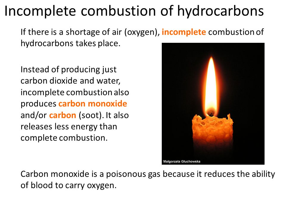 If there is a shortage of air (oxygen), incomplete combustion of hydrocarbons takes place.