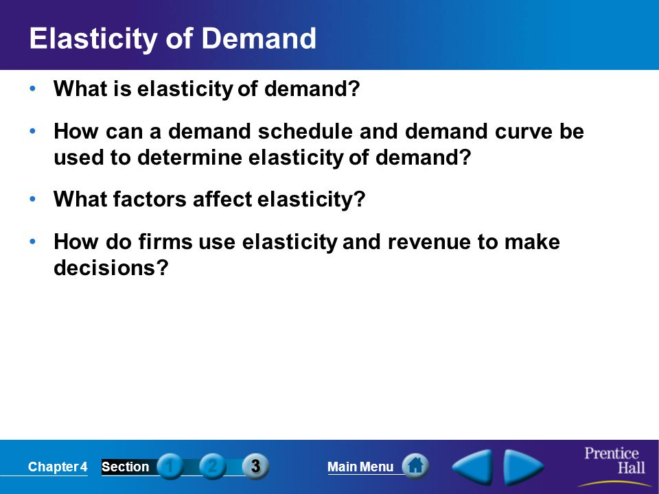 Chapter 4SectionMain Menu Elasticity of Demand What is elasticity of demand.