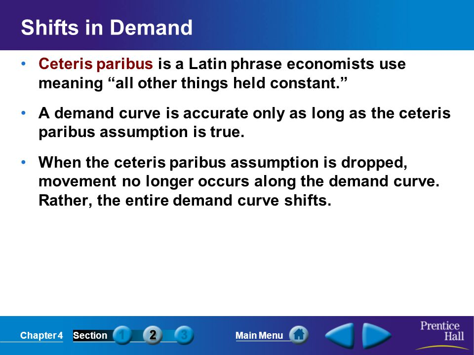 Chapter 4SectionMain Menu Shifts in Demand Ceteris paribus is a Latin phrase economists use meaning all other things held constant. A demand curve is accurate only as long as the ceteris paribus assumption is true.