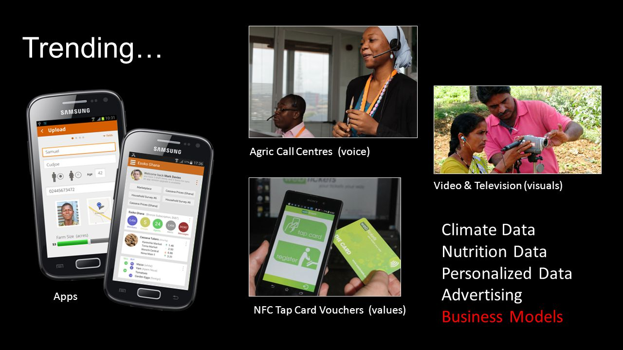 Trending… Video & Television (visuals) Apps NFC Tap Card Vouchers (values) Agric Call Centres (voice) Climate Data Nutrition Data Personalized Data Advertising Business Models