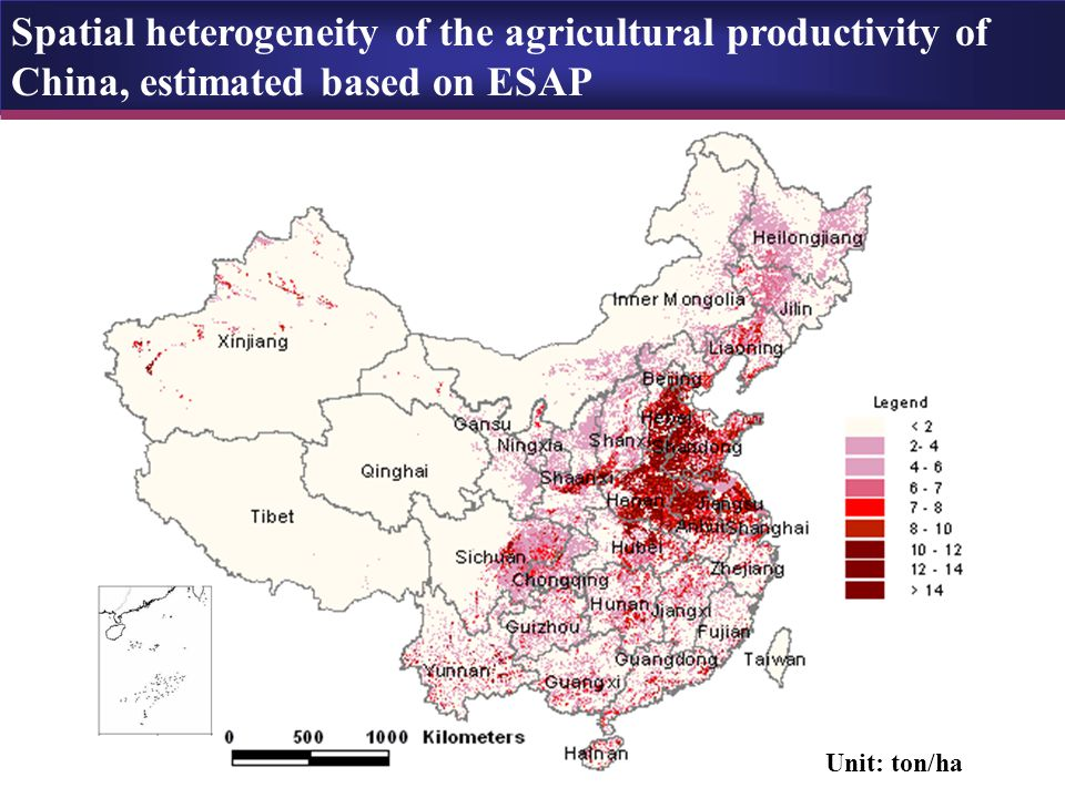 Spatial heterogeneity of the agricultural productivity of China, estimated based on ESAP Unit: ton/ha