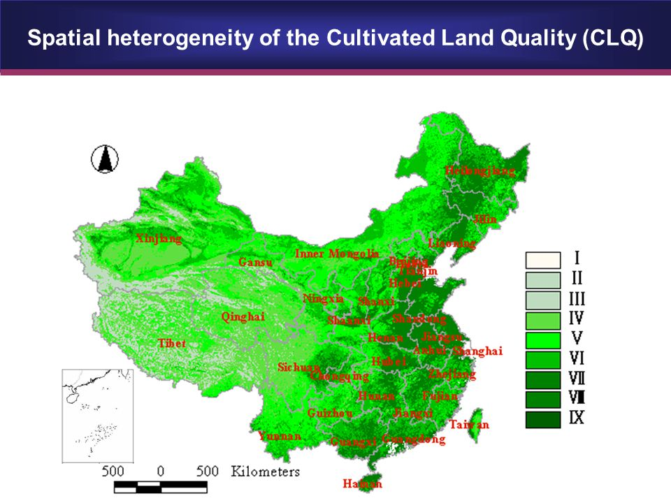 Spatial heterogeneity of the Cultivated Land Quality (CLQ)