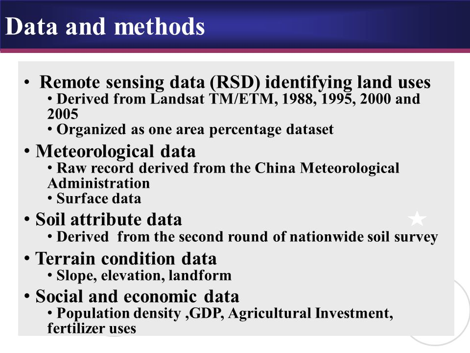 Data and methods Remote sensing data (RSD) identifying land uses Derived from Landsat TM/ETM, 1988, 1995, 2000 and 2005 Organized as one area percentage dataset Meteorological data Raw record derived from the China Meteorological Administration Surface data Soil attribute data Derived from the second round of nationwide soil survey Terrain condition data Slope, elevation, landform Social and economic data Population density,GDP, Agricultural Investment, fertilizer uses
