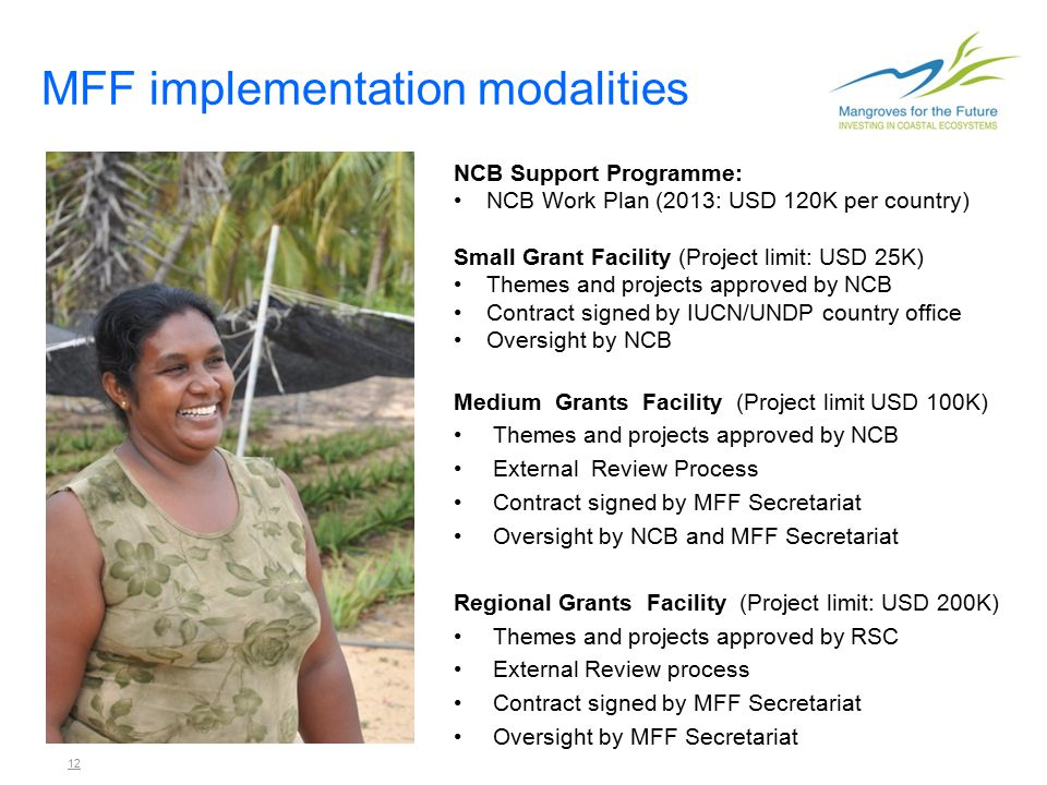12 MFF implementation modalities NCB Support Programme: NCB Work Plan (2013: USD 120K per country) Small Grant Facility (Project limit: USD 25K) Themes and projects approved by NCB Contract signed by IUCN/UNDP country office Oversight by NCB Medium Grants Facility (Project limit USD 100K) Themes and projects approved by NCB External Review Process Contract signed by MFF Secretariat Oversight by NCB and MFF Secretariat Regional Grants Facility (Project limit: USD 200K) Themes and projects approved by RSC External Review process Contract signed by MFF Secretariat Oversight by MFF Secretariat