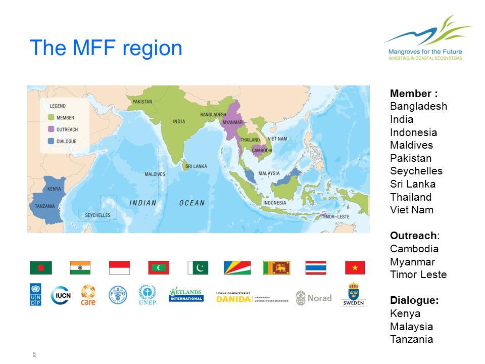 5 The MFF region Member : Bangladesh India Indonesia Maldives Pakistan Seychelles Sri Lanka Thailand Viet Nam Outreach: Cambodia Myanmar Timor Leste Dialogue: Kenya Malaysia Tanzania