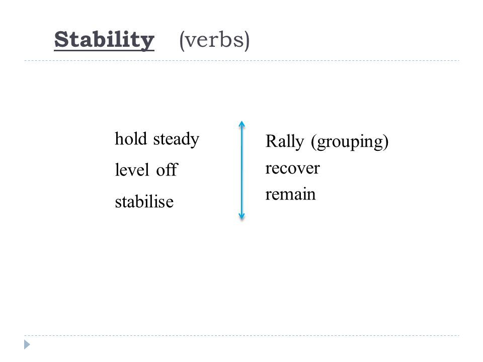 hold steady level off stabilise Rally (grouping) recover remain Stability (verbs)