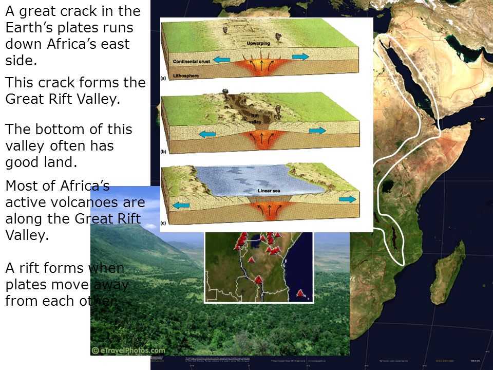 A great crack in the Earth's plates runs down Africa's east side. This crack forms the Great Rift Valley. The bottom of this valley often has good lan