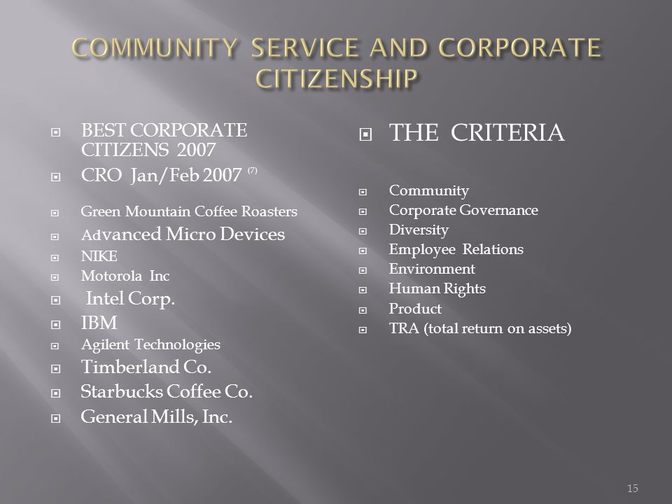  BEST CORPORATE CITIZENS 2007  CRO Jan/Feb 2007 (7)  Green Mountain Coffee Roasters  Ad vanced Micro Devices  NIKE  Motorola Inc  Intel Corp.
