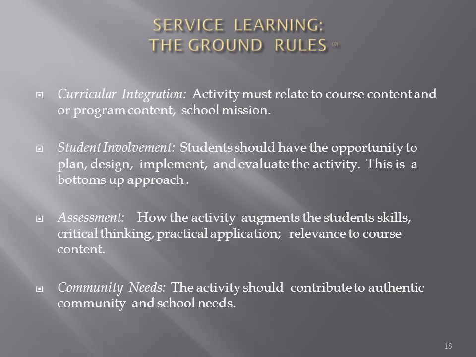  Curricular Integration: Activity must relate to course content and or program content, school mission.