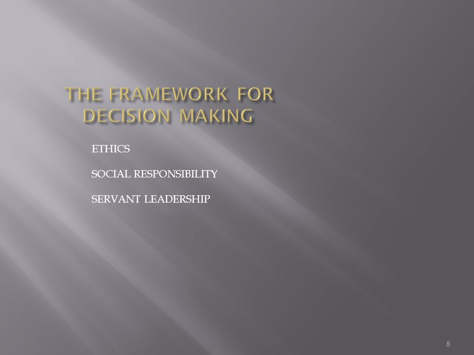 ETHICS SOCIAL RESPONSIBILITY SERVANT LEADERSHIP 8