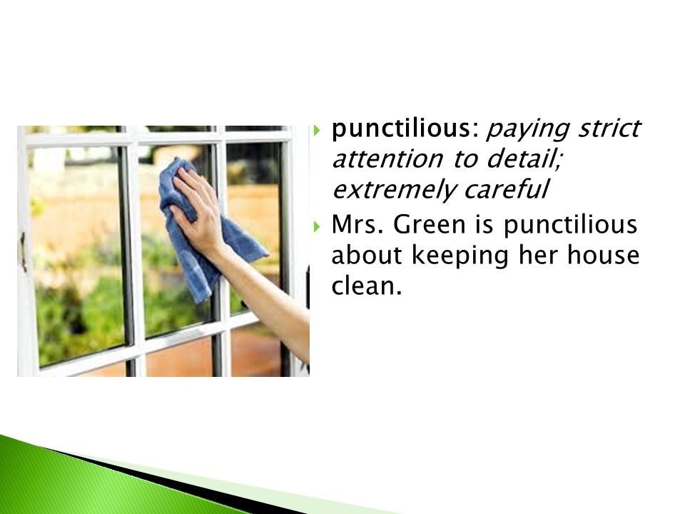  punctilious: paying strict attention to detail; extremely careful  Mrs.