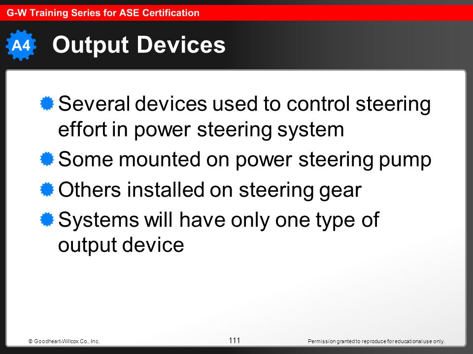 Permission granted to reproduce for educational use only. 111 © Goodheart-Willcox Co., Inc. Output Devices Several devices used to control steering ef