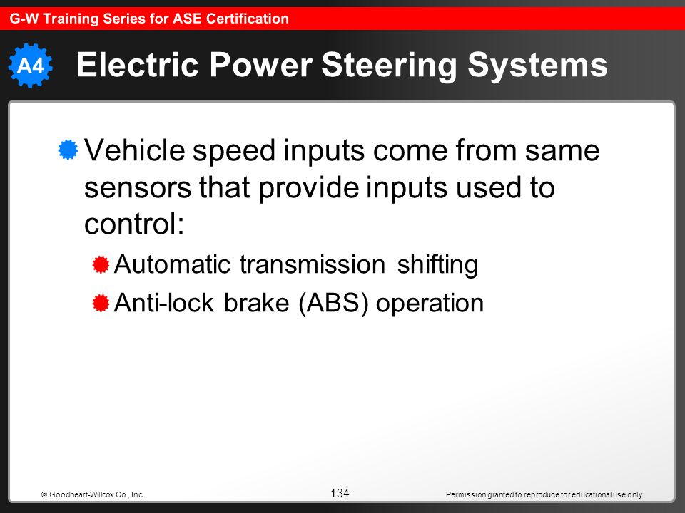 Permission granted to reproduce for educational use only. 134 © Goodheart-Willcox Co., Inc. Electric Power Steering Systems Vehicle speed inputs come