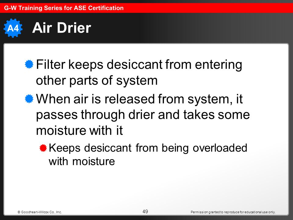 Permission granted to reproduce for educational use only. 49 © Goodheart-Willcox Co., Inc. Air Drier Filter keeps desiccant from entering other parts