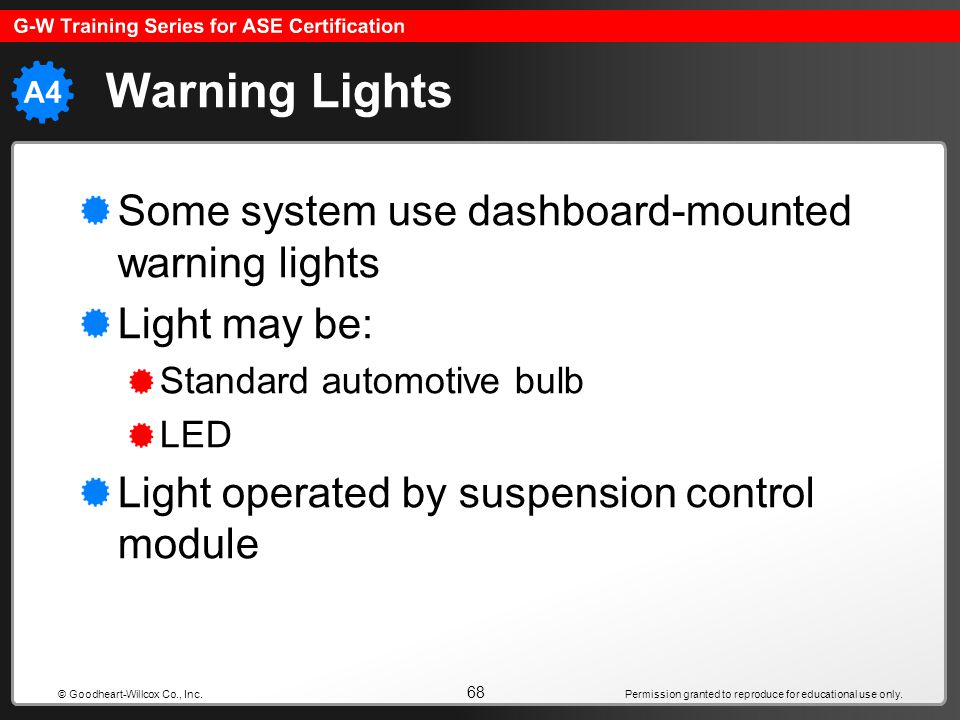 Permission granted to reproduce for educational use only. 68 © Goodheart-Willcox Co., Inc. Warning Lights Some system use dashboard-mounted warning li