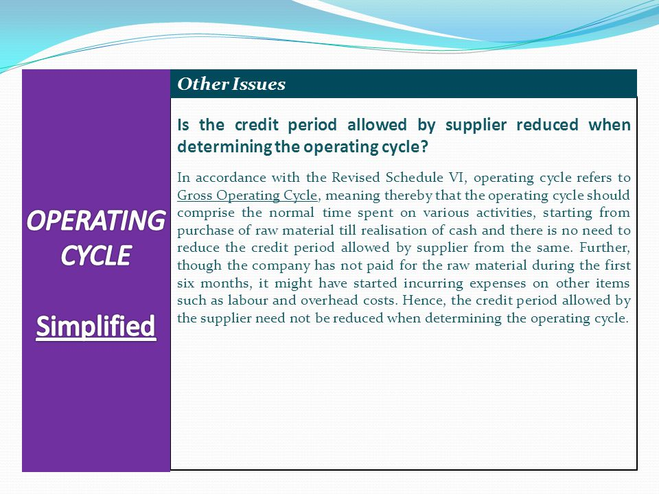 Is the credit period allowed by supplier reduced when determining the operating cycle.