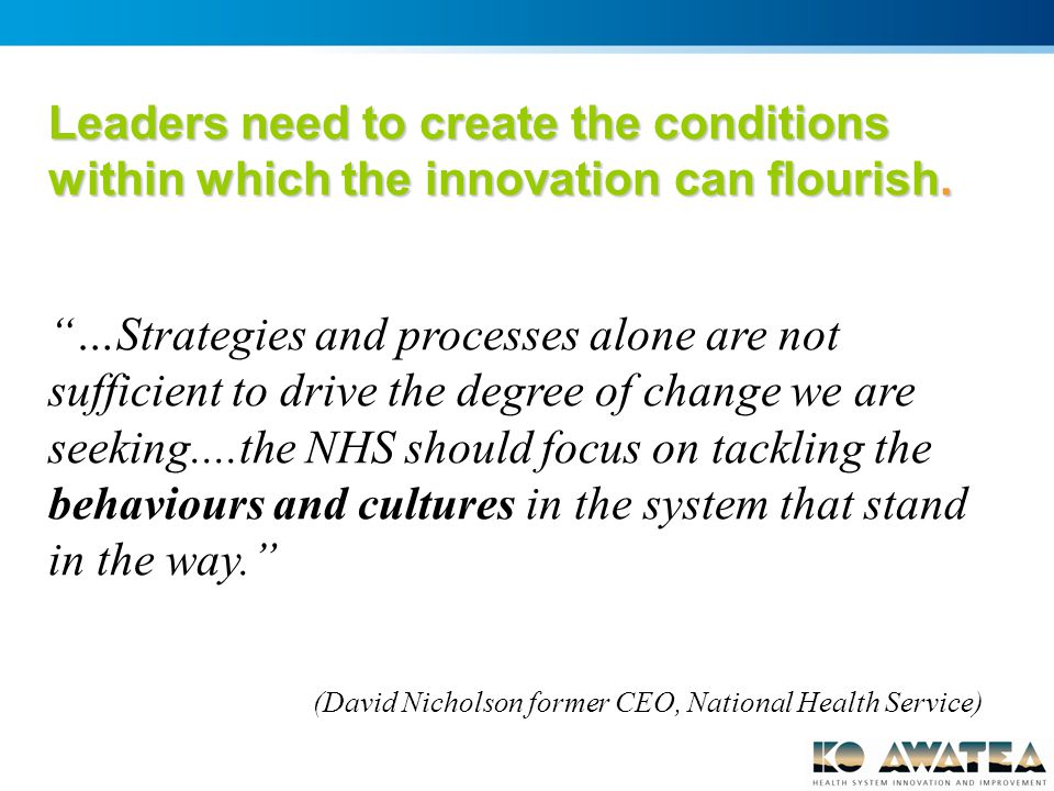 Leaders need to create the conditions within which the innovation can flourish.