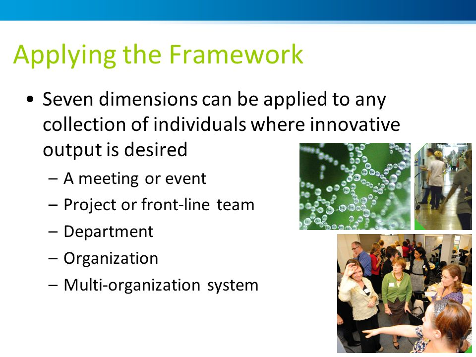 Applying the Framework Seven dimensions can be applied to any collection of individuals where innovative output is desired –A meeting or event –Project or front-line team –Department –Organization –Multi-organization system