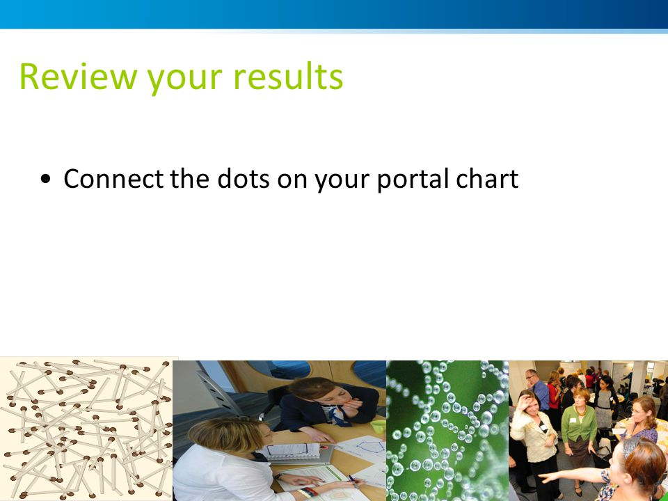 Review your results Connect the dots on your portal chart