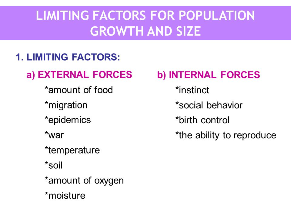 LIMITING FACTORS FOR POPULATION GROWTH AND SIZE 1.LIMITING FACTORS: a) EXTERNAL FORCES *amount of food *migration *epidemics *war *temperature *soil *amount of oxygen *moisture b) INTERNAL FORCES *instinct *social behavior *birth control *the ability to reproduce