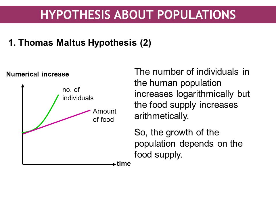 HYPOTHESIS ABOUT POPULATIONS 1. Thomas Maltus Hypothesis (2) time Numerical increase The number of individuals in the human population increases logar