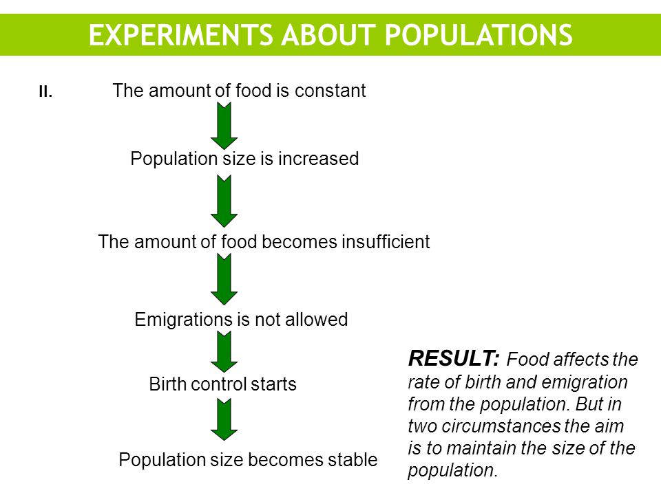 EXPERIMENTS ABOUT POPULATIONS ll.