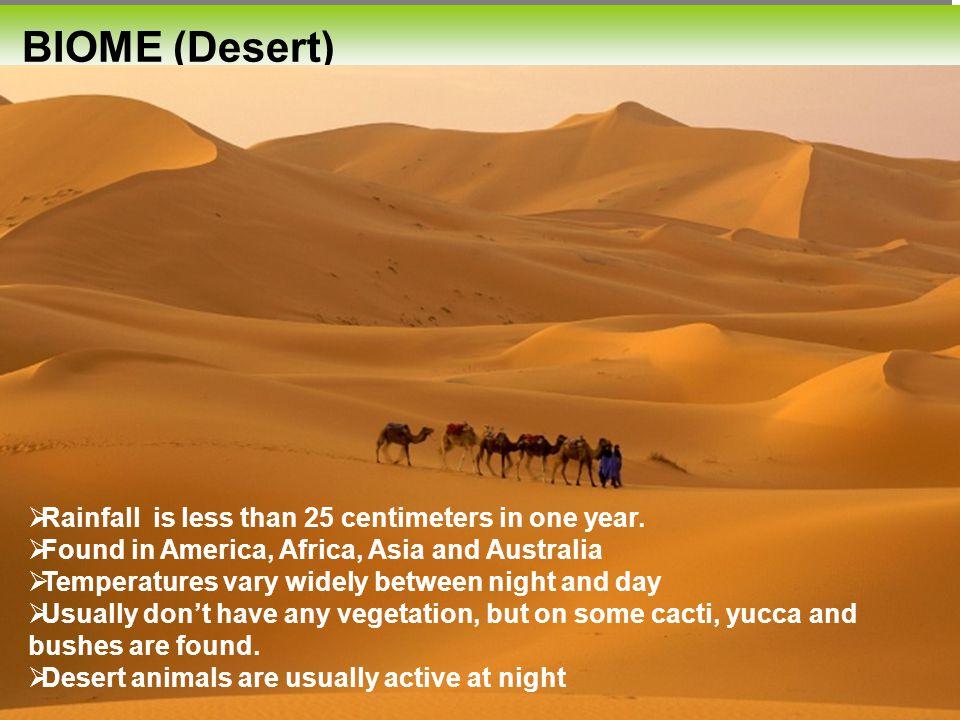 Desert BIOME (Desert)  Rainfall is less than 25 centimeters in one year.