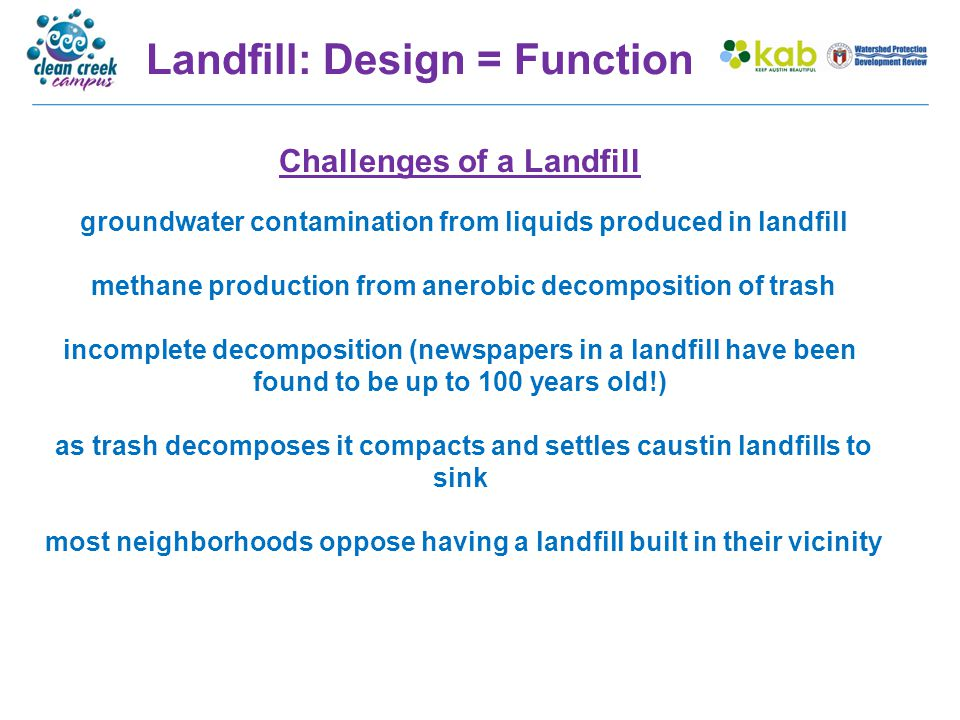 Landfill: Design = Function Challenges of a Landfill groundwater contamination from liquids produced in landfill methane production from anerobic deco