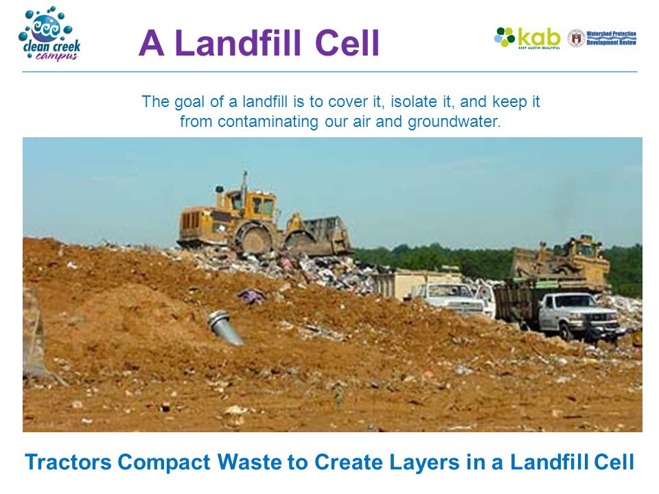 Landfill – Soil Top Layer At the end of every day, the waste is compacted and a layer of soil called daily cover is spread over it to minimize odor, prevent windblown litter, and deter insects and vermin.
