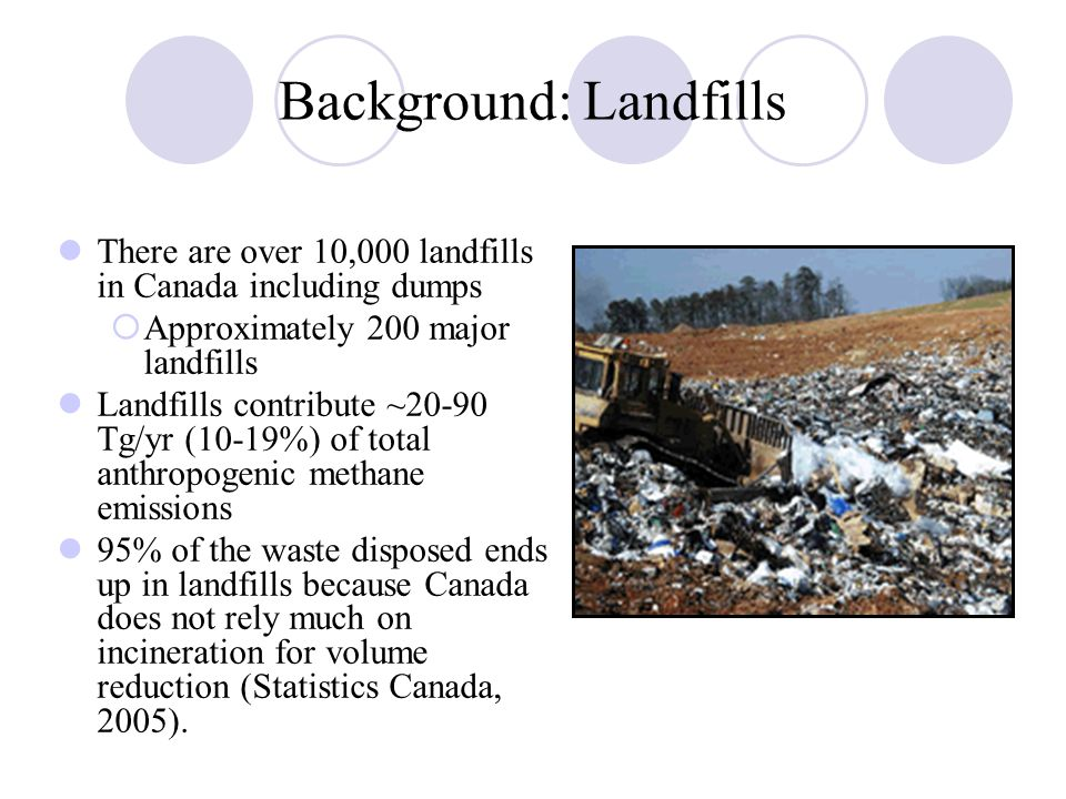Background: Landfills There are over 10,000 landfills in Canada including dumps  Approximately 200 major landfills Landfills contribute ~20-90 Tg/yr (10-19%) of total anthropogenic methane emissions 95% of the waste disposed ends up in landfills because Canada does not rely much on incineration for volume reduction (Statistics Canada, 2005).