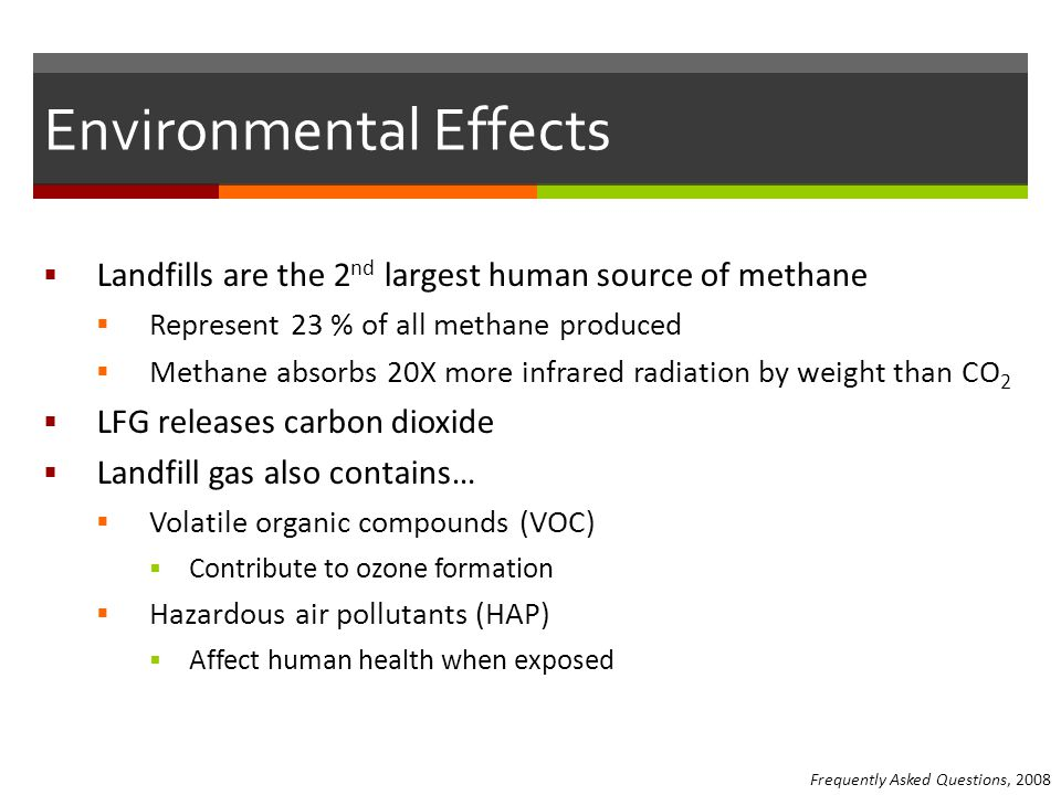Environmental Effects  Landfills are the 2 nd largest human source of methane  Represent 23 % of all methane produced  Methane absorbs 20X more infrared radiation by weight than CO 2  LFG releases carbon dioxide  Landfill gas also contains…  Volatile organic compounds (VOC)  Contribute to ozone formation  Hazardous air pollutants (HAP)  Affect human health when exposed Frequently Asked Questions, 2008
