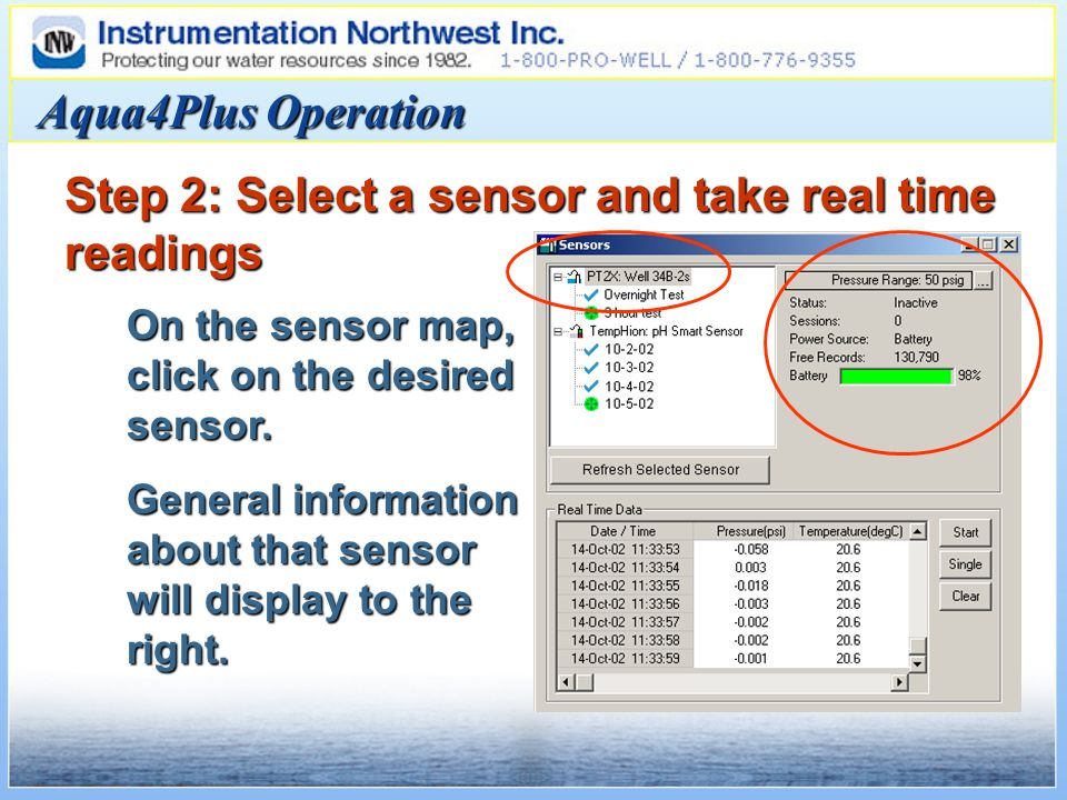 Aqua4Plus Operation Step 2: Select a sensor and take real time readings On the sensor map, click on the desired sensor.