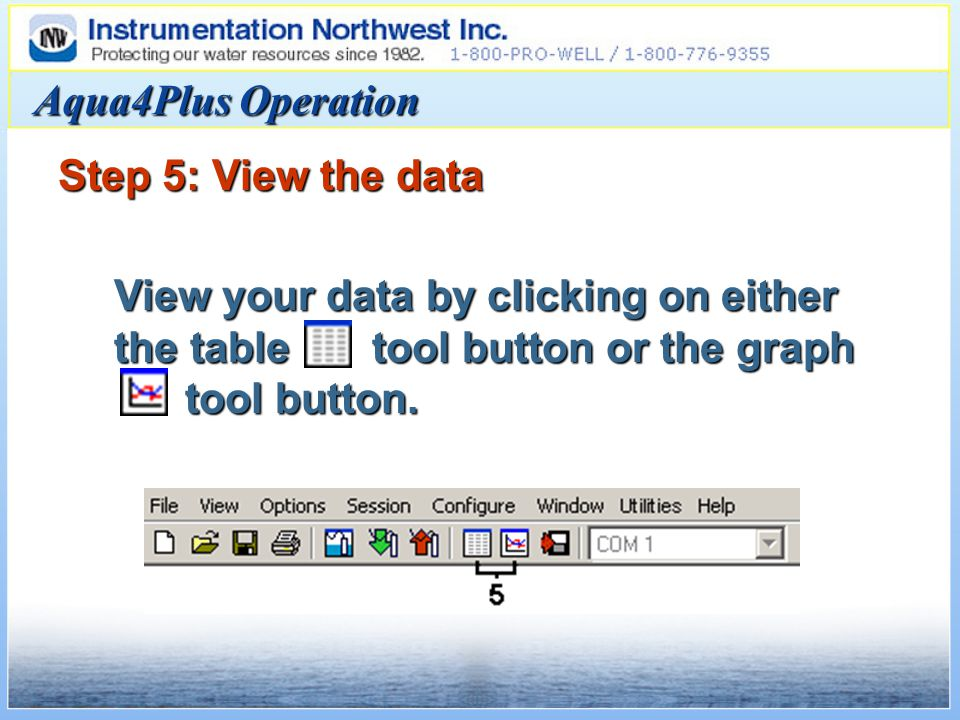 Aqua4Plus Operation Step 5: View the data View your data by clicking on either the table tool button or the graph tool button.