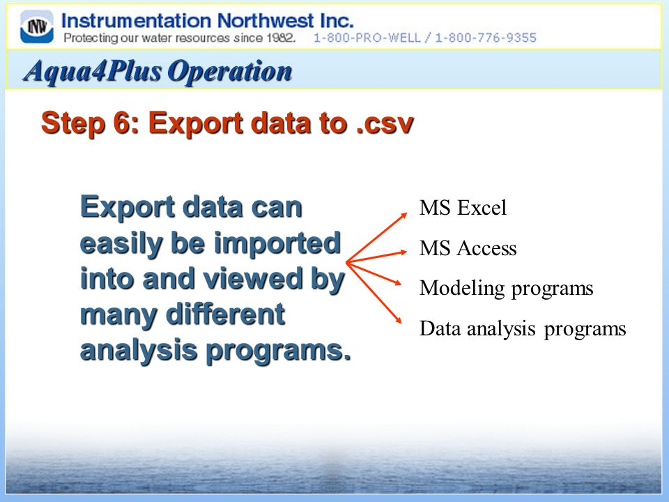 Aqua4Plus Operation Step 6: Export data to.csv Export data can easily be imported into and viewed by many different analysis programs.