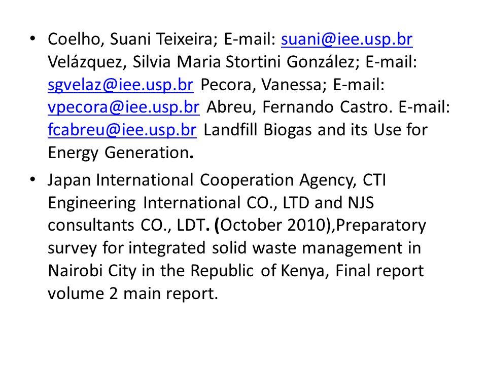 Coelho, Suani Teixeira; E-mail: suani@iee.usp.br Velázquez, Silvia Maria Stortini González; E-mail: sgvelaz@iee.usp.br Pecora, Vanessa; E-mail: vpecora@iee.usp.br Abreu, Fernando Castro.
