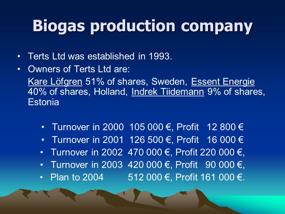 Biogas production company Terts Ltd was established in 1993. Owners of Terts Ltd are: Kare Löfgren 51% of shares, Sweden, Essent Energie 40% of shares