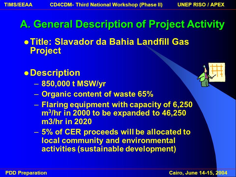 PDD Preparation Cairo, June 14-15, 2004 TIMS/EEAA CD4CDM- Third National Workshop (Phase II) UNEP RISO / APEX A.
