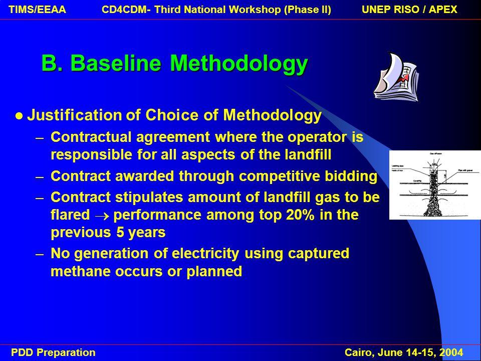 PDD Preparation Cairo, June 14-15, 2004 TIMS/EEAA CD4CDM- Third National Workshop (Phase II) UNEP RISO / APEX E.