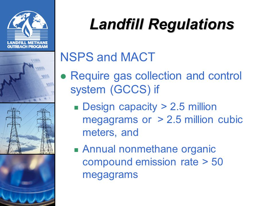 GCCS Requirements Collect landfill gas from Active areas that have held waste for five years or longer Closed areas that have held waste for two years or longer