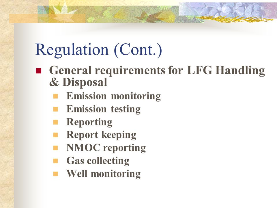 Regulation Applicable regulations under the Clean Air Act NSPS Emission Guidelines NESHAP PSD/NSR TITLE V State and local