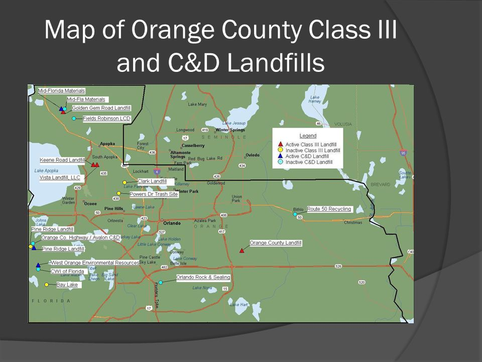 Map of Orange County Class III and C&D Landfills