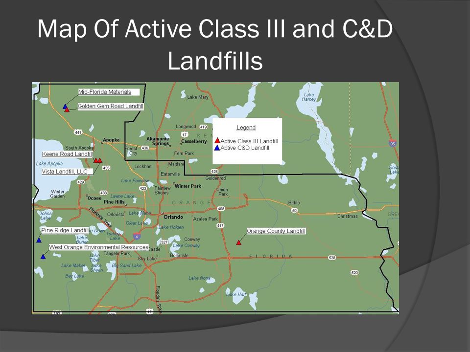 Map Of Active Class III and C&D Landfills