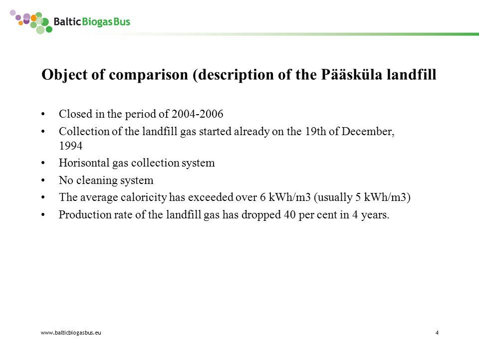 www.balticbiogasbus.eu4 Object of comparison (description of the Pääsküla landfill Closed in the period of 2004-2006 Collection of the landfill gas st