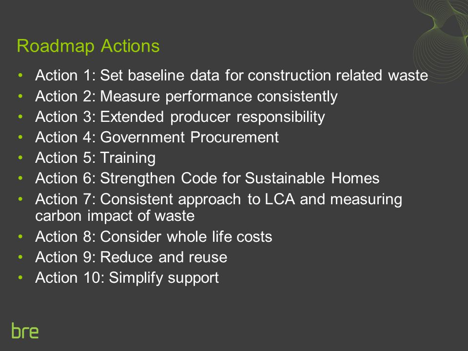 Roadmap Actions Action 1: Set baseline data for construction related waste Action 2: Measure performance consistently Action 3: Extended producer resp