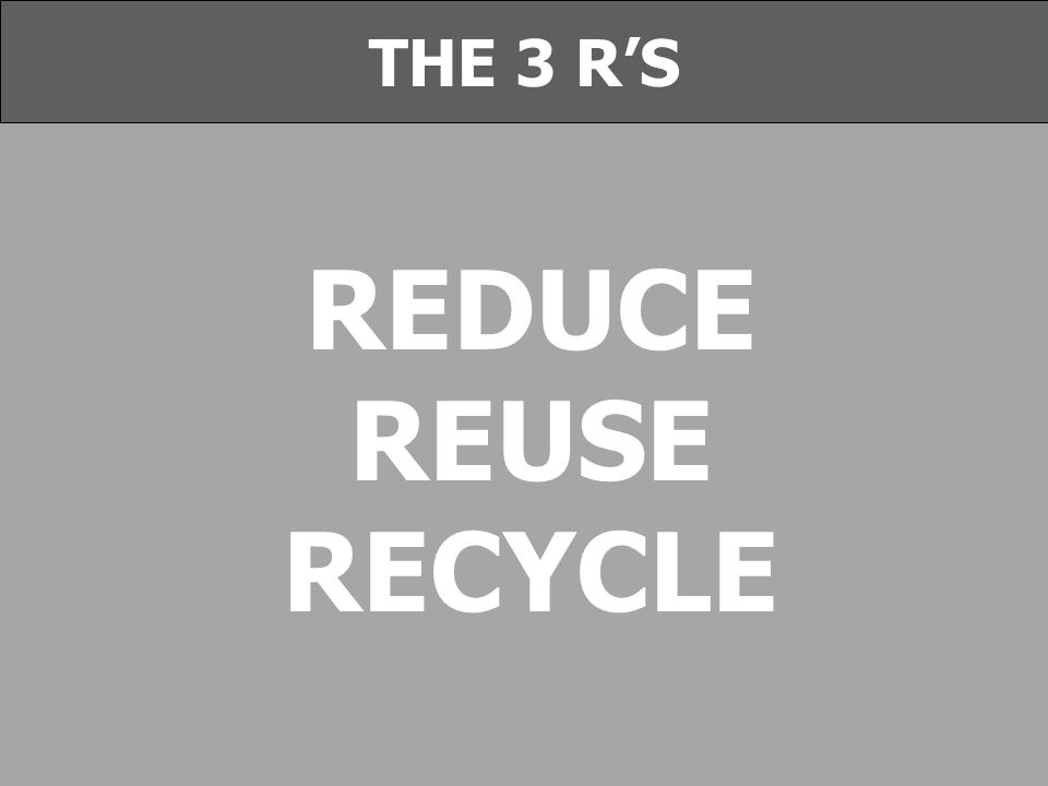 REDUCE REUSE RECYCLE THE 3 R'S